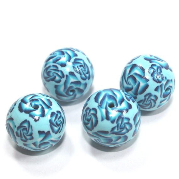 Round beads in blue, turquoise and white, rose pattern beads, Polymer clay beads, set of 4 elegant beads