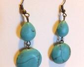 Handmade Double Turquoise Rustic Dangly Earrings