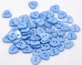 20 Heart Shaped  Resin Plastic Buttons Two Holes Pale Blue  -  20 Pack PB25