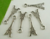10 Antique Silver Coloured Eiffel Tower Charms 32 x 12mm - Pack of 10 CP34