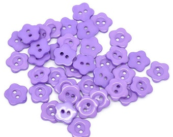 100 Flower 14mm  Shaped Resin Plastic Buttons Two Holes Purple Wholesale Bulk Buttons  -  100 Pack PB55