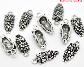 10 Antique Silver Coloured Wise Owl Charm Pendant 24 x 10mm - Pack of 10 CP39