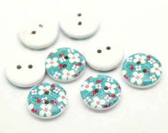 100  White Painted Floral Wood Button Two Hole (Design no.11)  15mm - 100 Pack WPB08