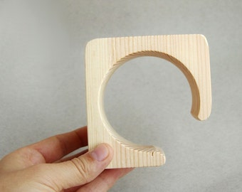 45 mm Wooden cuff  unfinished square with break - natural eco friendly ma45
