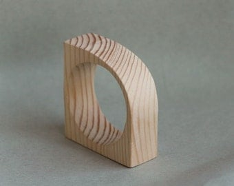 30 mm Wooden bangle unfinished corner - natural eco friendly IL30