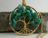 Wire-wrapped Amazonite Tree of Life Pendant