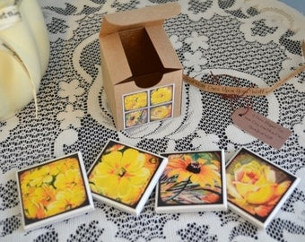 4 piece ceramic tile magnet set in gift box yellow flowers clearance sale
