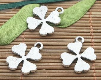 30pcs dark silver tone leaf charms h3209