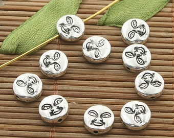 50pcs dark silver tone face spacer beads h3307