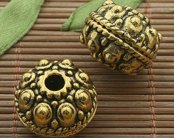 5pcs dark gold tone studded spacer beads h3331