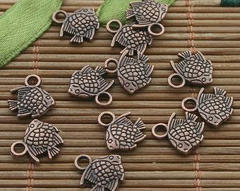 100pcs copper tone sea fish charm h3354