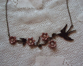 Rose and Bird Necklace, Black and Taupe Necklace