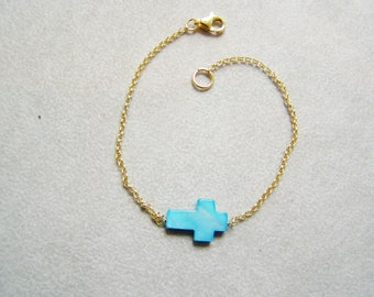 Sideways, turquoise cross bracelet, gold plated sterling chain, charm bracelet, boho bracelet, friendship bracelet