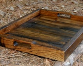 Large Dark Walnut Serving Tray/ Reclaimed Wood Tray/ Serving Tray/ Rustic Wedding