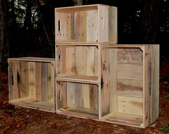 Wooden Crates Set of 5 Unfinished Looney Bins