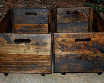 Wooden Crates/ Rolling Wooden Crates/Reclaimed Wood/ Toy Storage/ Organization