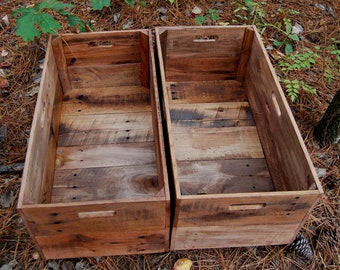 Set of Two X-Large Rolling Crates from Reclaimed Wood