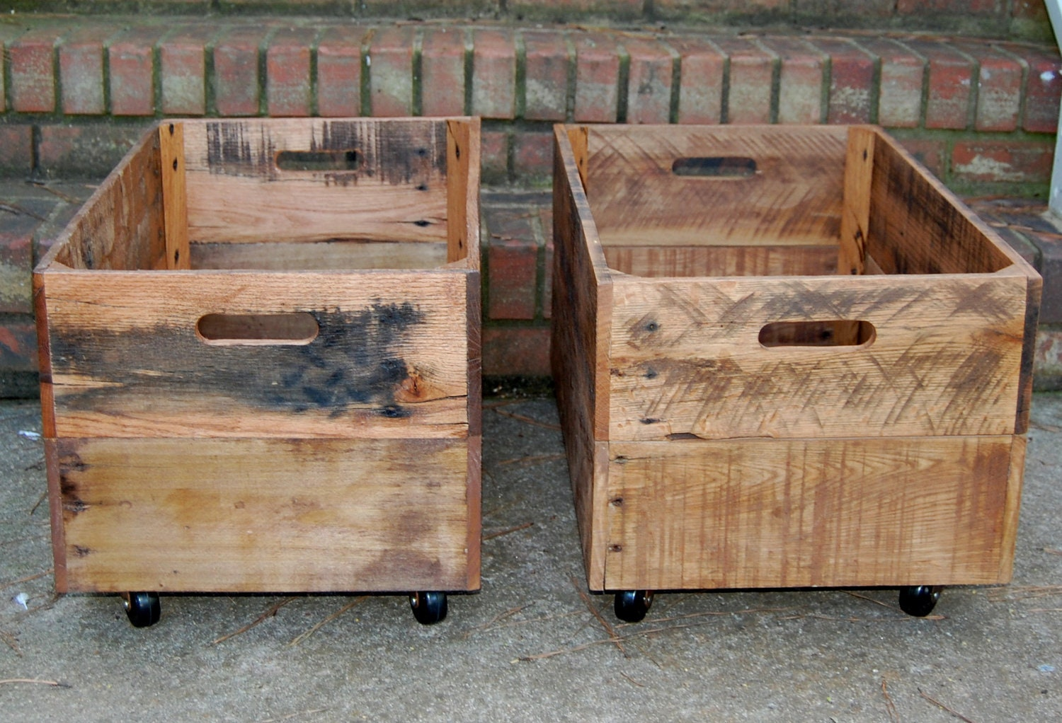 wooden crates large rolling reclaimed wood set of two. Black Bedroom Furniture Sets. Home Design Ideas