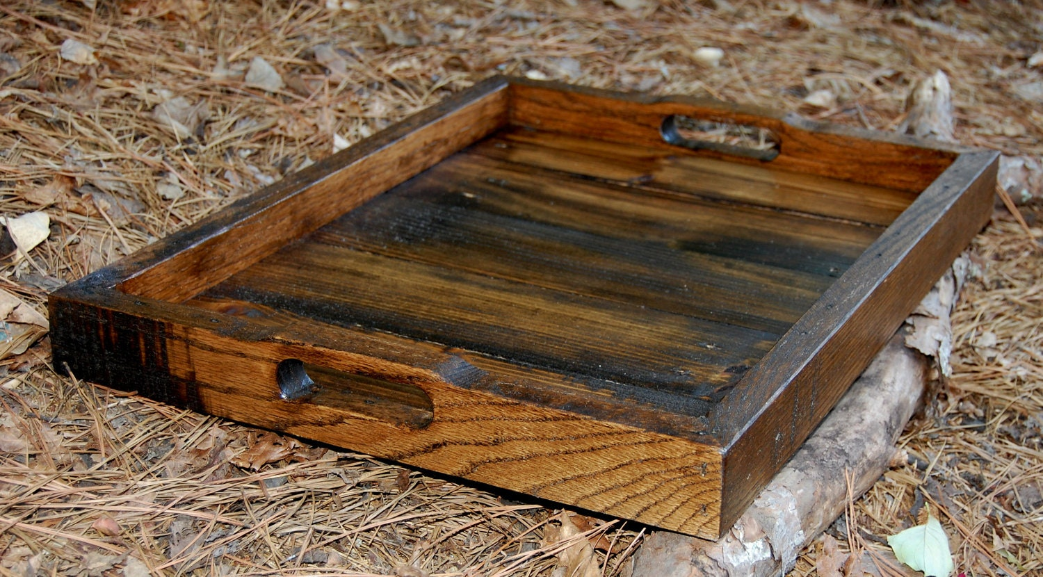 ... Reclaimed Wood Tray/ Serving Tray/ Rustic Wedding. 🔎zoom - Large Dark Walnut Serving Tray/ Reclaimed Wood Tray/ Serving