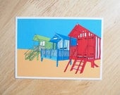POSTCARD - 6x4.25 inches. Beach Huts