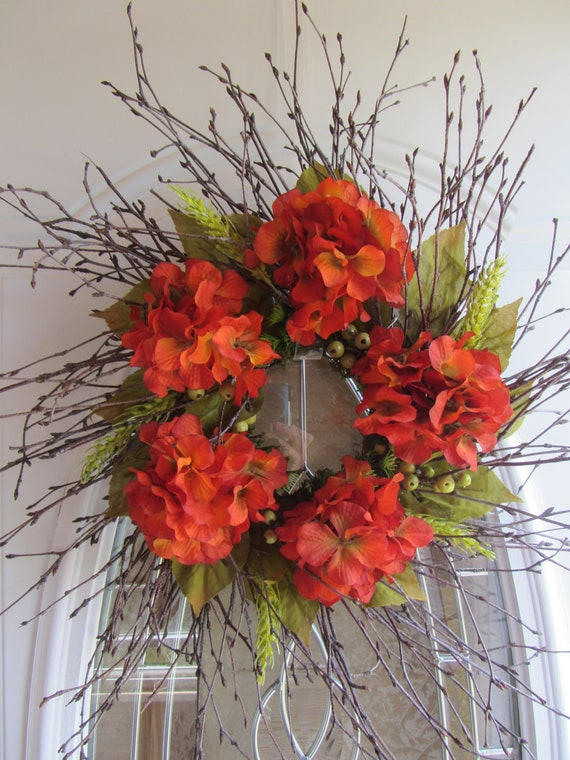 Fall Wreath, Hydrangea Wreath, Country Wreath, Autumn Wreath