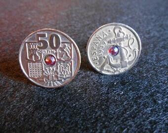 Spanish 50 Centimos Coin with Crystal Cufflinks