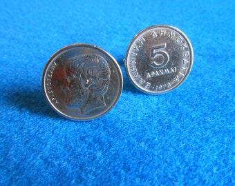 Greek 5 Drachmai Silver toned Coin Cufflink
