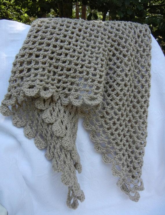 Hand Crocheted Shawl, Natural Tan Color, Scalloped Edge