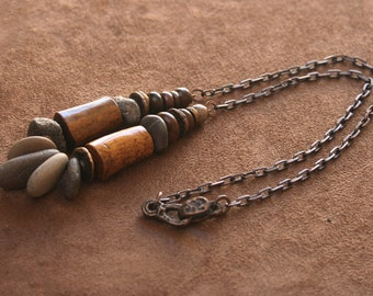 Rustic Necklace Sterling Silver, Elk Antler, Solid Bronze, Fossilized Coral, Chestnut Jasper,