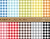 Gingham Digital Paper 'Picnic' Blue, Green, Yellow, Orange, Pink, Red, Brown, Gray and Black Vichy Squares Printable Sheets
