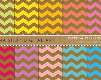 Digital Paper 'Chevron on Kraft II' Green, Yellow, Orange, Pink, Red, Purple, Aqua and Turquoise Chevron Patterns for Scrapbook, Design...