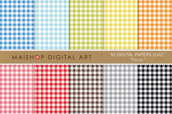 Gingham Digital Paper - Picnic - Blue, Green, Yellow, Orange, Pink, Red, Brown, Gray and Black Vichy Squares Printable Sheets
