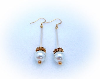 White Pearl and Glass Earring
