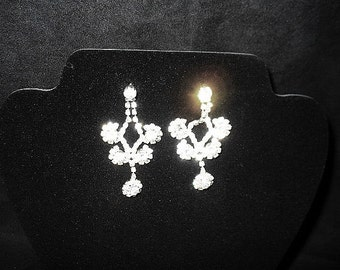 The Bling is Here in These Long Chandalier Dangle Rhinestone Pierced Earrings
