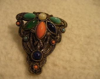 Vintage Silver Southwestern Style Brooch or Clip with Turquoise, Orange and Black Beads