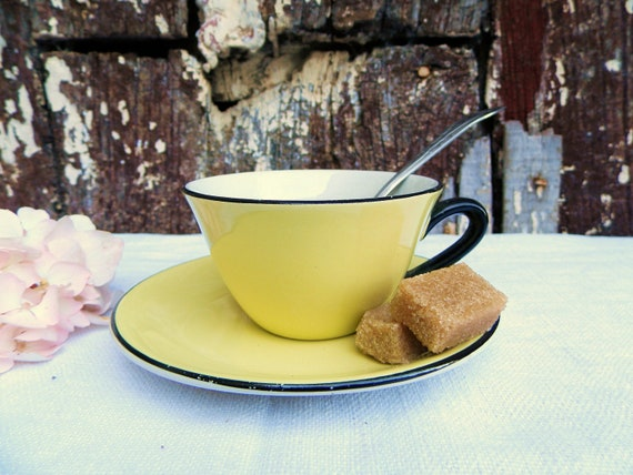 Vintage French Yellow Espresso Cup and Saucer