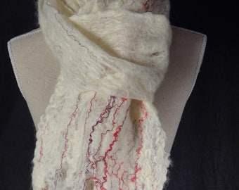 Scarf, handmade cobweb felt, white with red & purple silk yarn. Handfelted Wensleydale wool. Lovely Christmas gift idea.