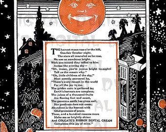 RARE VINTAGE Halloween Digital Download. Colgate Ad. Harvest Moon.
