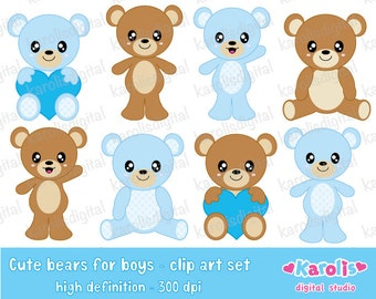 Cute bears for boys - digital clip art set - personal and commercial use - Instant download
