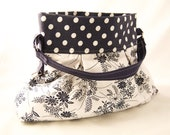 Navy polka dot cotton purse with white floral, pretty shoulder bag, bright colored medium tote with pleats