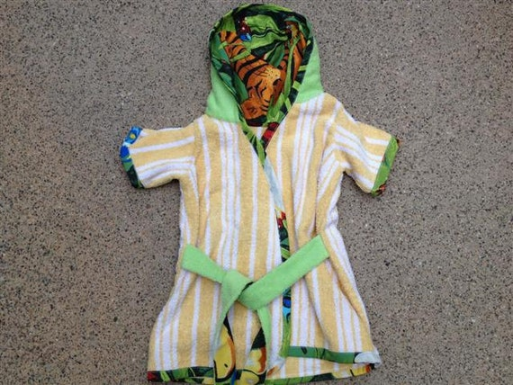 Beach Bath Tropical Robe 3T-4T Toddlers Made from Towel with Tiger/Jungle Lining- Short Sleeve Cover Up for Bath, Pool, Beach