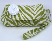Green and Cream clutch - Ready to ship