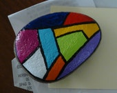 Abstract Hand Painted Rock Paper Weight