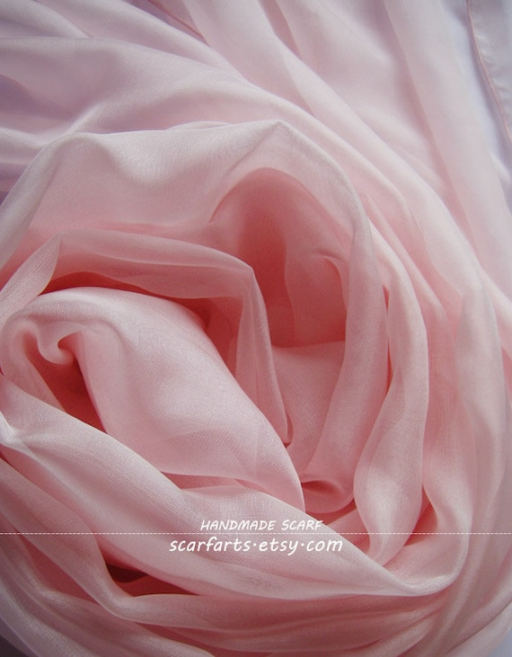 Items Similar To Light Pink Silk Scarf Baby Pink Scarf