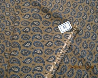 Paisley vintage cotton fabric is blue and brown