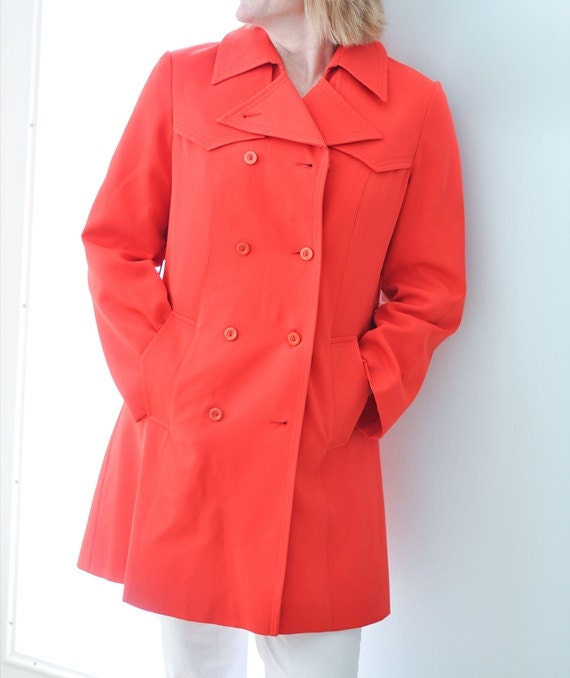 Women Vintage Red Trenchcoat, Overcoat, Puget Sounder