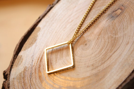 Geometric Square Necklace in Gold Plated