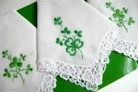 Vintage Irish Handkerchief, Embroidered Handkerchief, Hand Embroidered, Shamrocks, Irish Lace, Cotton hankie, Set of 3, ladies handkerchiefs
