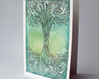 Celtic tree of life birthday card, with 'happy birthday' message.