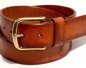 Grapefruit River: Handmade Brown (Red-Orange) Custom Leather Belt